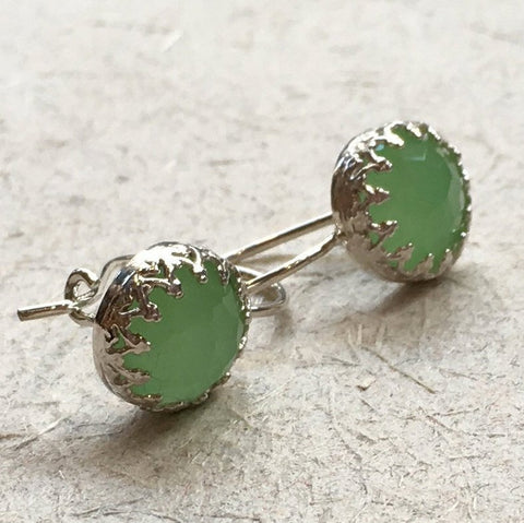 Dangle casual silver jade earrings