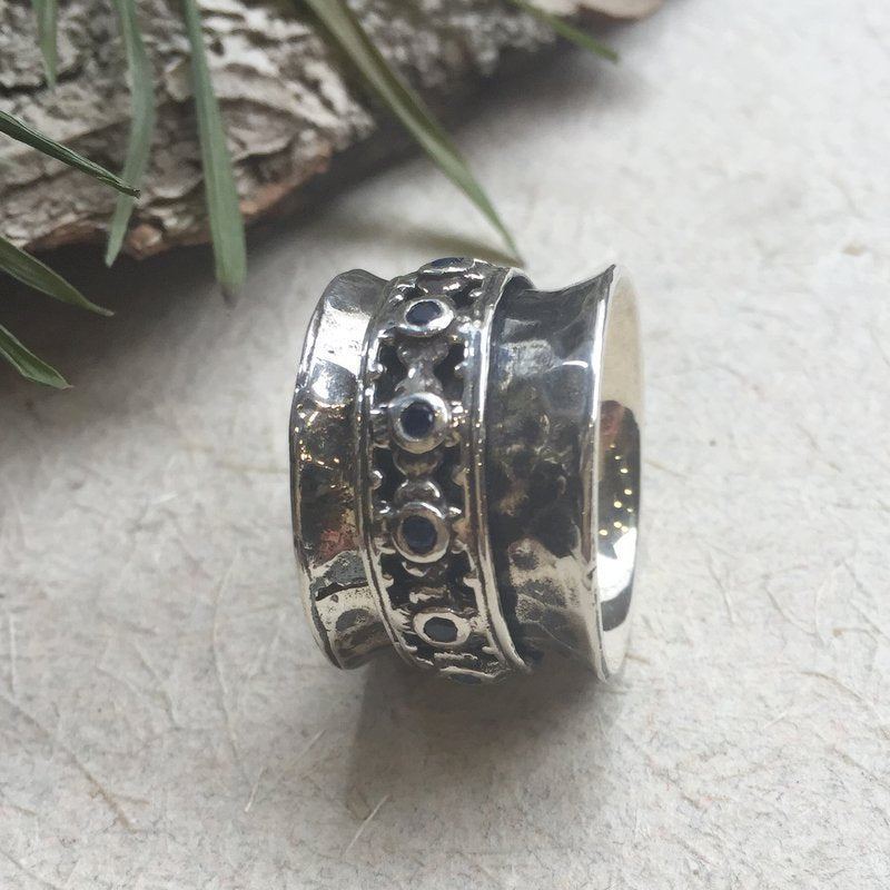 Silver wedding band, Blue sapphire ring, bohemian ring, gypsy ring, hippie ring, Unique band for her, shiny - New beginnings 4. R1149XZS