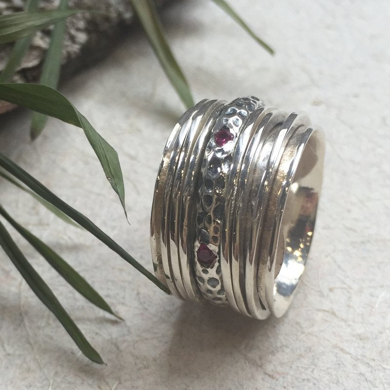 Silver wedding ring, rubies eternity ring, stacking bands, unisex wedding band, wide band, gemstone ring, hammered band - Calm love R2345