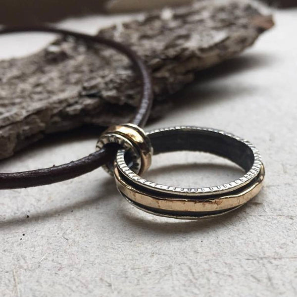 Sterling silver mens necklace, spinner ring necklace, silver circle pendant, unisex necklace, Black leather cord men jewelry - Zodiac N2033S