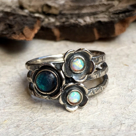 Birthstones stacking sterling silver ring