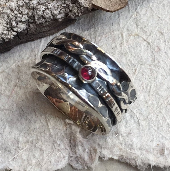 Red garnet ring, gemstone ring,spinners ring, Engagement wedding bands, Sterling silver ring, wide silver band - Just the two of us R2130-1