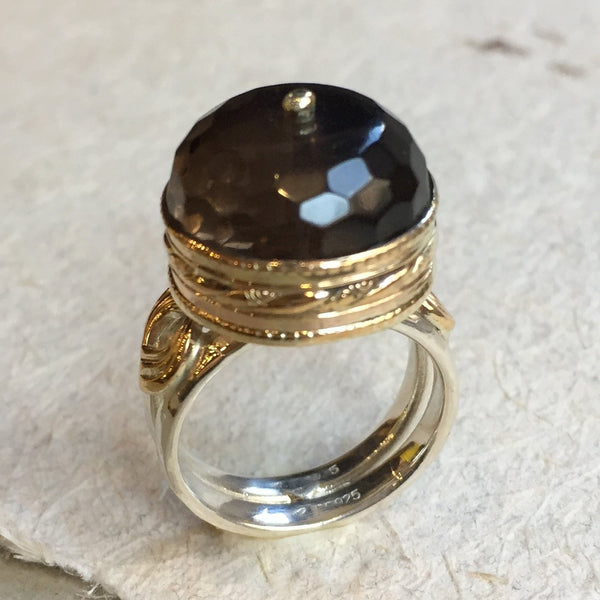 Smoky quartz ring, Sterling silver Gold ring, gemstone ring, stone ring, silver band, statement ring, cocktail ring - Smoke on water R2393