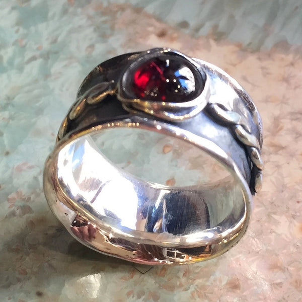 Wide silver Ring, Garnet ring, infinity ring, silver band, wedding engagement ring, red stone ring, January birthstone - My little one R2399