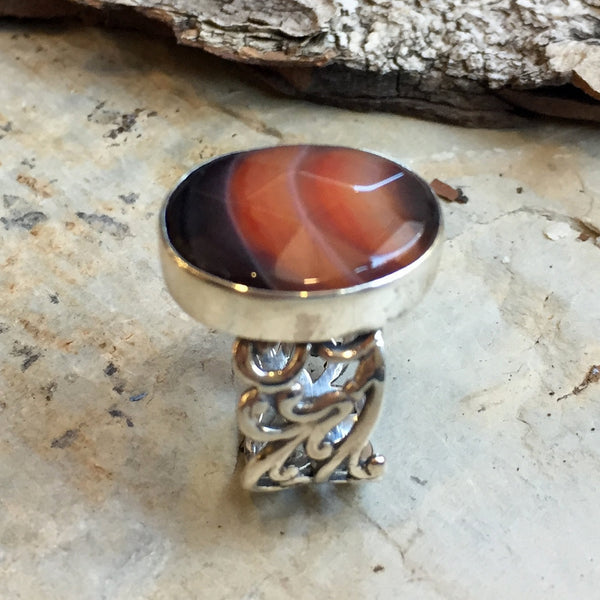 Cocktail silver agate stone ring R2401