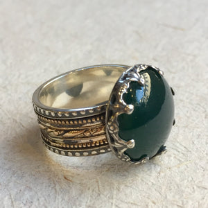 Silver gold ring, forest green agate ring, gypsy ring, spinner ring, meditation ring, two tone gold filigree ring - Into The Mist R2305-4