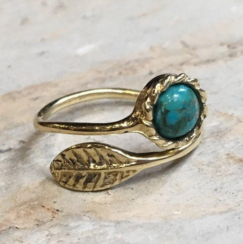 leaf gold, nature adjustable Turquoise ring
