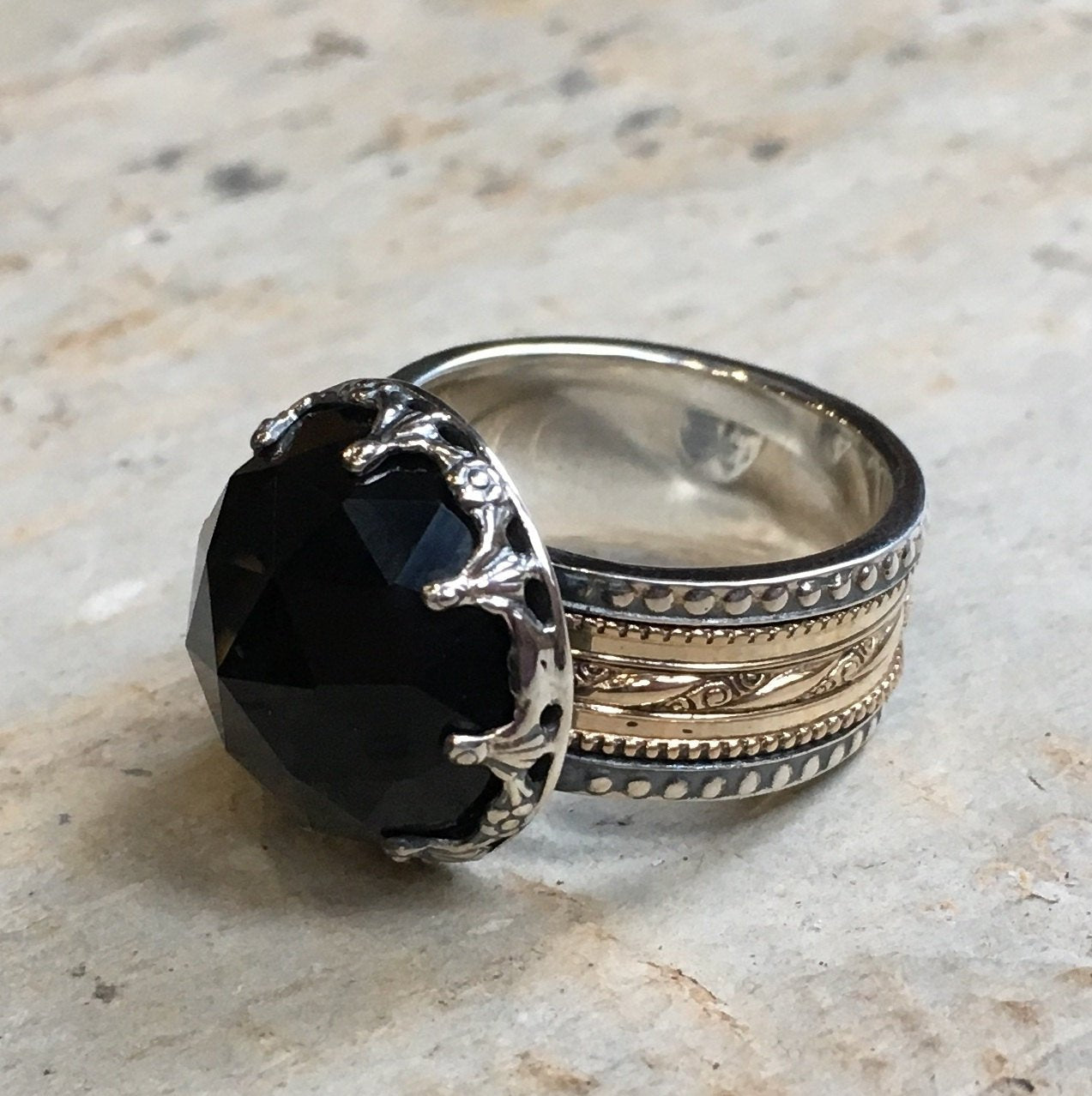 Silver gold ring, Onyx ring, wedding band, gypsy ring, spinner ring, meditation ring, two tone band,  filigree ring - Into The Mist R2305-1