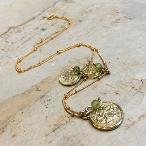 Gold coins necklace, charm pendant, green quartz Necklace, gemstone necklace, gold filled necklace, delicate chain - A place for two N2030