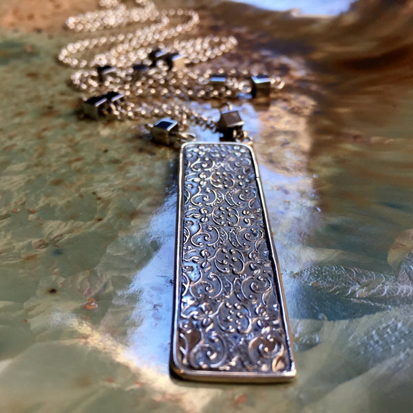 pyrite silver necklace, Long Necklace, Silver Filigree pendant, Woodland Necklace, rectangle Pendant, long chain - Our Finest Days N2040