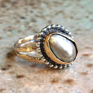Pearl ring, Two tone ring, sterling silver ring, silver gold ring, engagement ring, tiny ring, organic ring, Boho - Bird On The Wire R2408