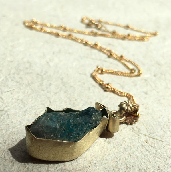 Gold filled necklace, boho necklace, OOAK necklace, apatite stone necklace, drop necklace, gypsy necklace, bridal necklace - Elle N2032