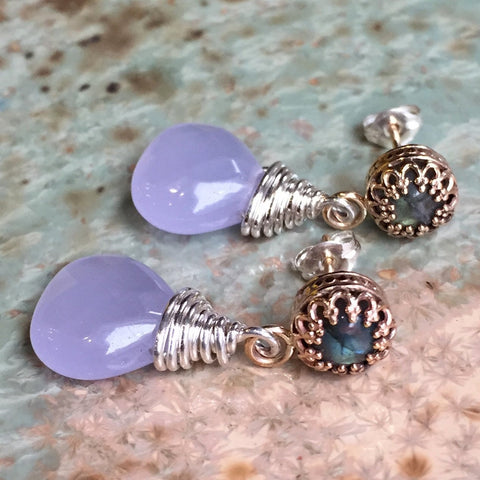 Purple Chalcedony Labradorite earrings, Gold filled earrings, drop earrings, Wire wrap crown earring, dangle earrings - Her smile  E8056