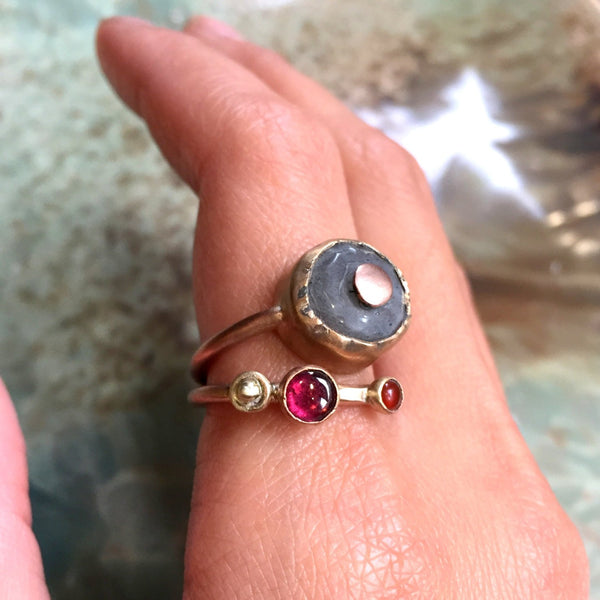 Mothers ring, stacking ring, Birthstones ring, gold filled ting, multi stone ring, family ring, stacking bands - Our golden hill  R2426