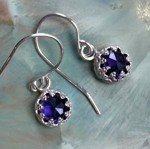 Amethyst earrings, crown earrings, purple stone earrings, Silver Dangle earrings, casual earrings, Small gemstone earrings - Nirvana E8059
