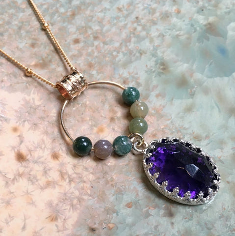 Amethyst silver gold necklace