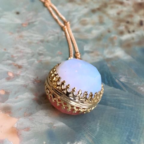 Birthstones pendant, Golden brass necklace, Opalite and cherry quartz necklace, Double sided pendant, floral pendant -  Be Loved NK2006-5
