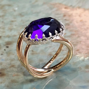 Amethyst Silver gold crown ring