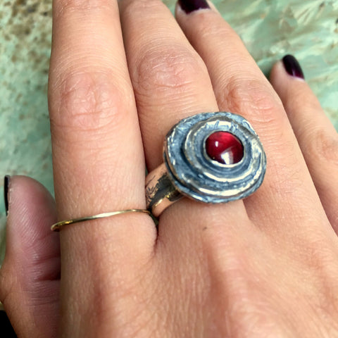 January birthstone ring, garnet ring, Unisex ring, sterling silver ring, stone ring, heavy silver ring, red stone ring - Our way  R2448