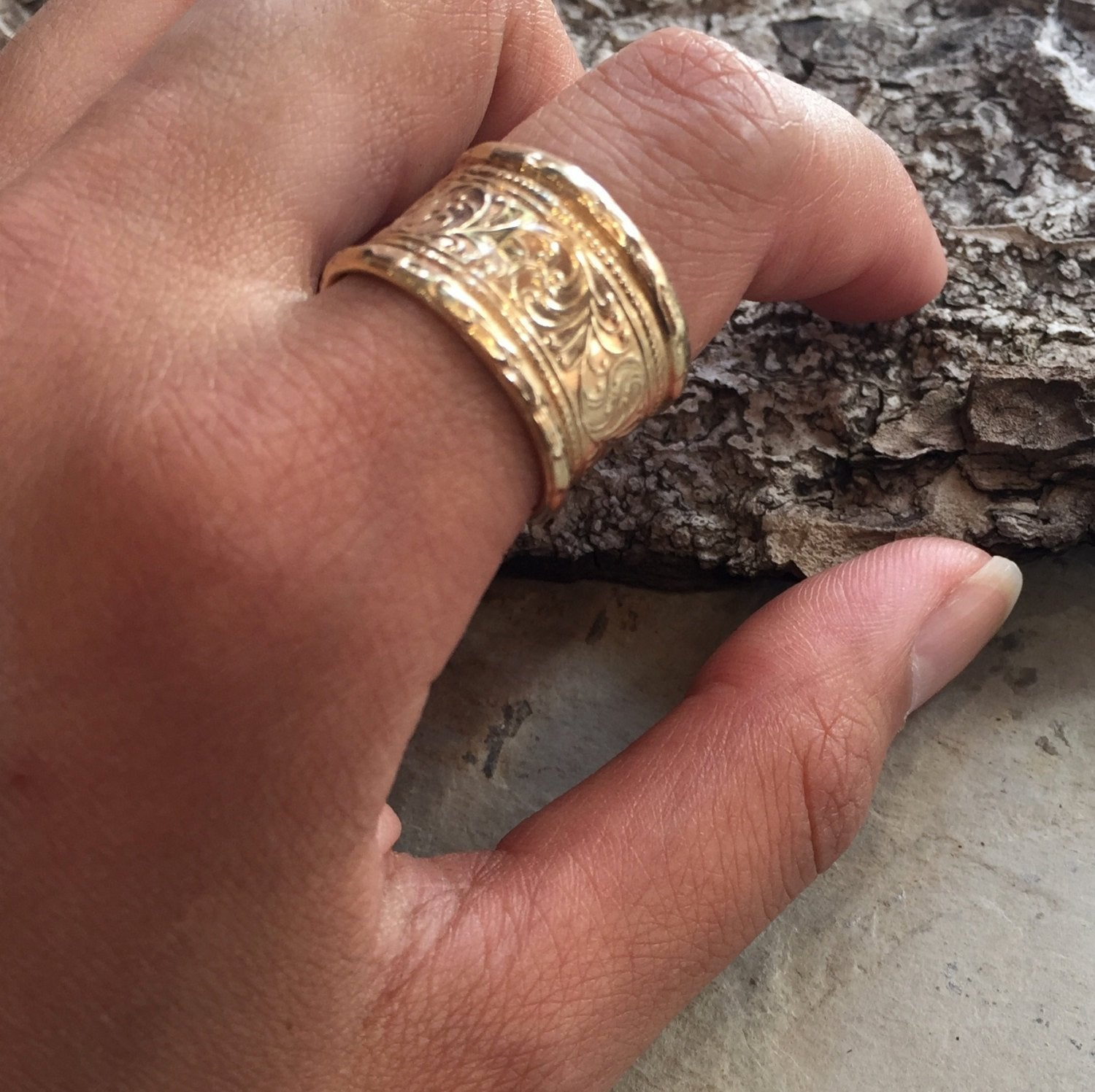 Solid Gold Wedding Band Vine Band Unisex Ring Unique