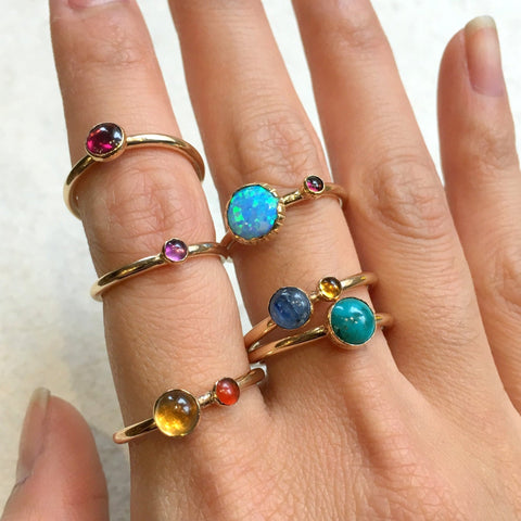 Birthstone Ring, Personalised stone Gift, Promise Ring, Thin Gold Ring, Personalised Jewelry, Dainty Ring - Stacking Rings - So happy R2455