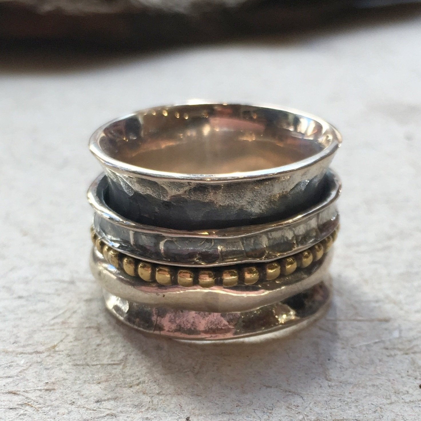 Spinner ring, Sterling silver Brass band, stacking band, meditation ring, wide ring, wedding band, unisex band, twotone - Finding us R2388