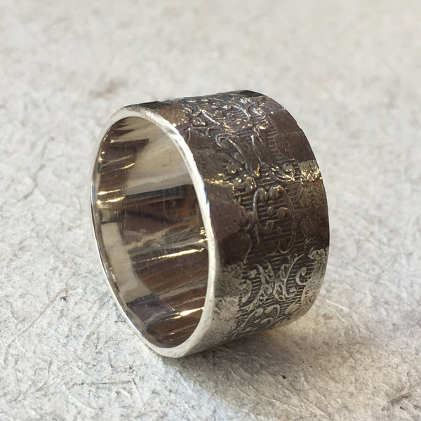 Sterling silver band, wide band, oxidized band, wedding ring, unisex ring, vine filigree ring, oxidized silver - Our joyful life R2390