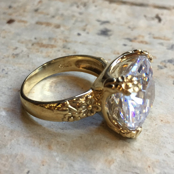 clear quartz boho chic engagement Gold Ring