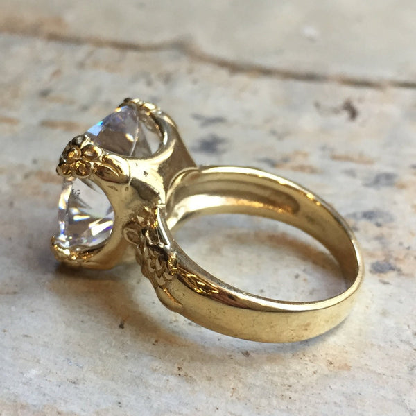 Solid gold clear stone bohemian ring