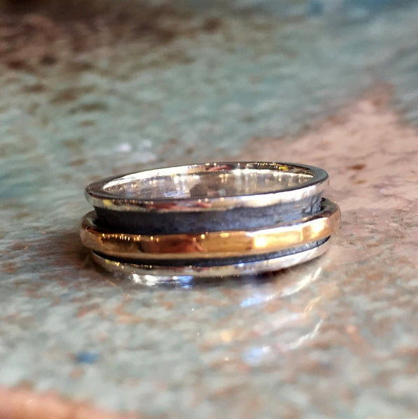Wedding band, Sterling silver ring, men band, gold band, spinner ring, meditation ring, Two tones band, unisex ring - Genuine love  R2398