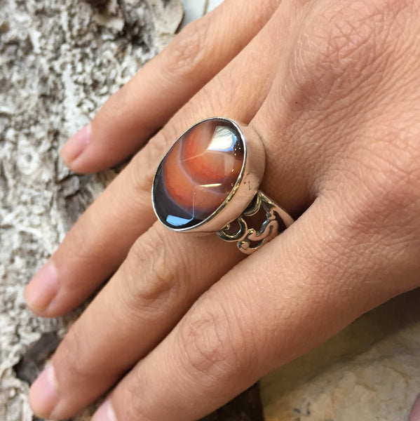 silver gemstone agate wide statement ring