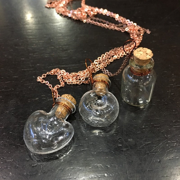 Miniature Bottle pendant, heart necklace, valentines gift, rose gold chain, Vial Necklace, bottle necklace, Layering Necklace - AFN 104 1