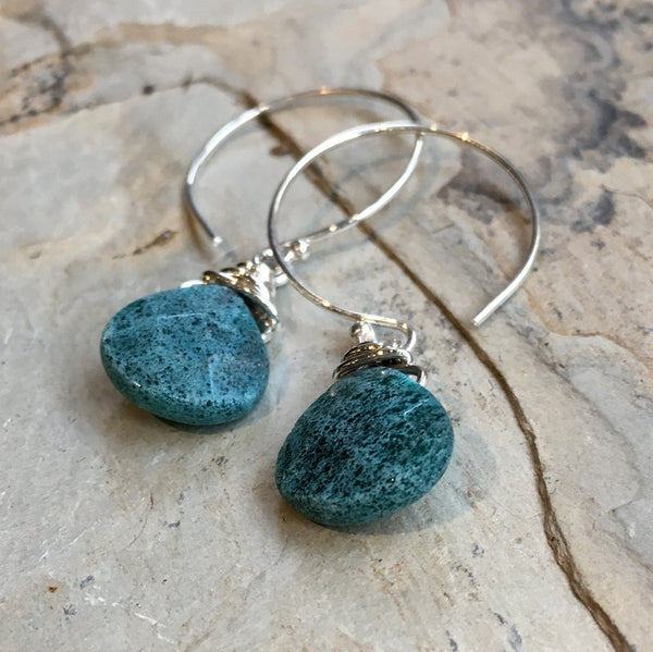 Apatite drop Earrings, circle hook earrings, Sterling silver Hoop Earrings, Dangle stone Earrings, wire wrap dainty silver Hoops - E8068-2