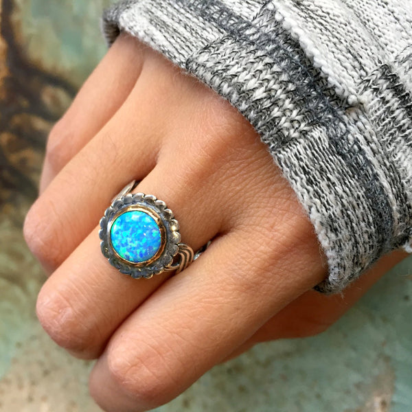 Blue opal ring, Sterling silver gold ring, statement ring, cocktail ring, gemstone ring, blue stone ring, stone ring - Winter Lady R2411