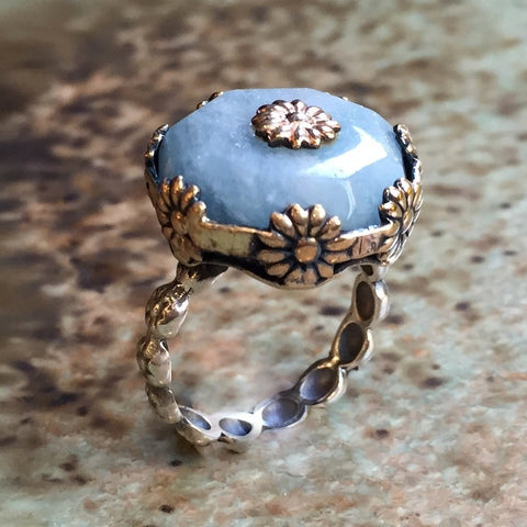 Aquamarine floral sterling silver gold ring
