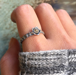 Silver engagement ring,  boho ring, two tones ring, nature ring, dainty hippie ring, gypsy ring, stacking ring - A Thousand Kisses R2417