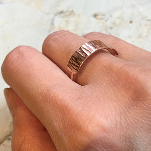 Skinny rose gold Ring, Minimal Ring, Stackable Ring, Stacking Ring, midi ring, dainty ring, hammered ring, dainty ring - Borderline R2463