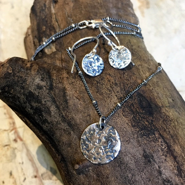 Minimalist earrings, Silver disc Earrings, hammered silver Earrings, Every day Earrings,dainty Jewelry, boho earrings - By My Side E8063