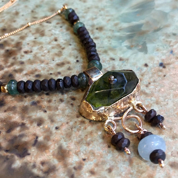Green quartz necklace, gold filled necklace, gemstones pendant, beaded necklace, onyx necklace, gypsy necklace - Green eyes N2042