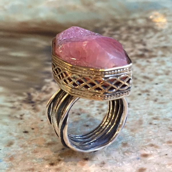 Raw cherry quartz ring, engagement ring, Silver gold ring, OOAK, two tone ring, large ring, high ring, wire wrap - Love calls you R2423