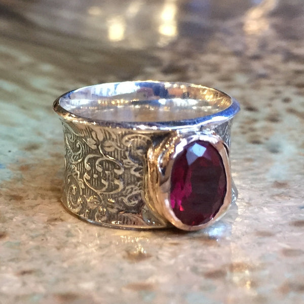 Pink tourmaline ring, Silver gold ring, gypsy ring, Wide Silver band, boho ring, gemstone ring, vine unique ring -  Lost in legend R2424