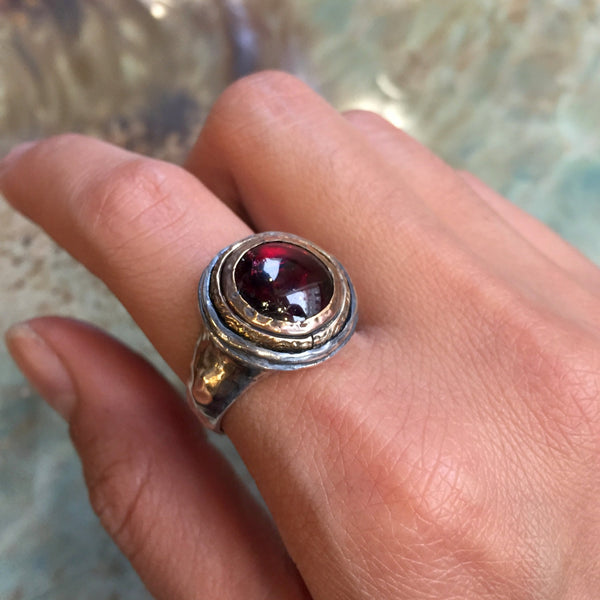 Red garnet ring, stone ring, two tone ring, statement ring, silver gold ring, gemstone ring, statement cocktail ring - It's got to be  R2432