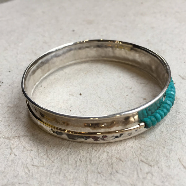 Spinner Bangle, Sterling Silver Bangle, Turquoise Bangle, Spinning Bangle, Two tones bangle, beaded bracelet, bohemian - Full circle B3017