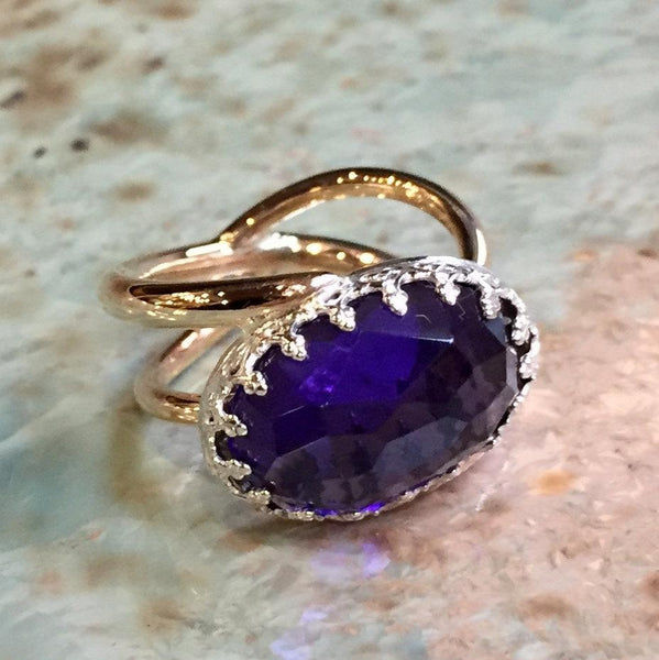 Amethyst goldfilled bohemian ring