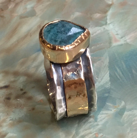 Apatite silver gold spinner ring