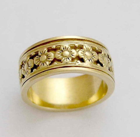 Solid yellow gold ring, spinning ring, spinner band, wedding band, Floral ring, meditation ring, boho ring, simple - New beginnings RG1149