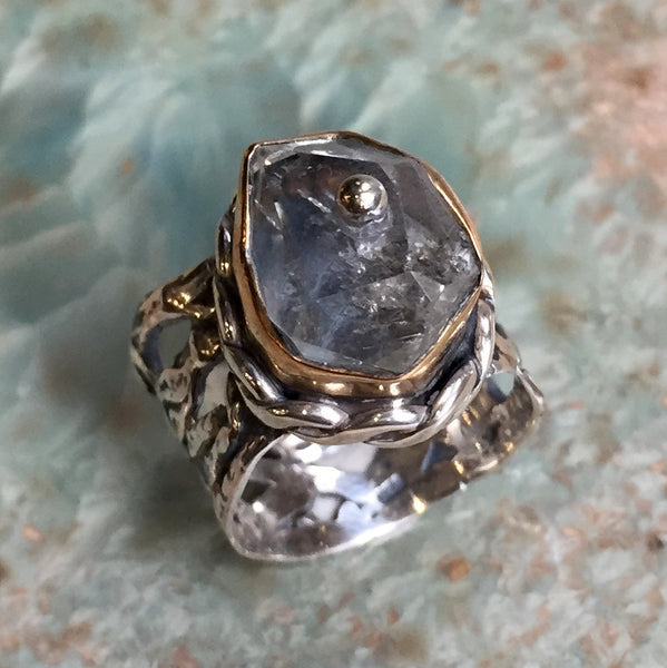 Rutilated quartz ring, two tone ring, gypsy ring, silver Gold engagement ring, net ring, boho ring, wide silver ring - Take me there R2441