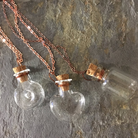 Miniature Bottle pendant, Rose gold necklace, tiny bottle necklace, Vial Necklace, heart pendant, Layering Necklace, BFF Gift - AFN 104 1-3
