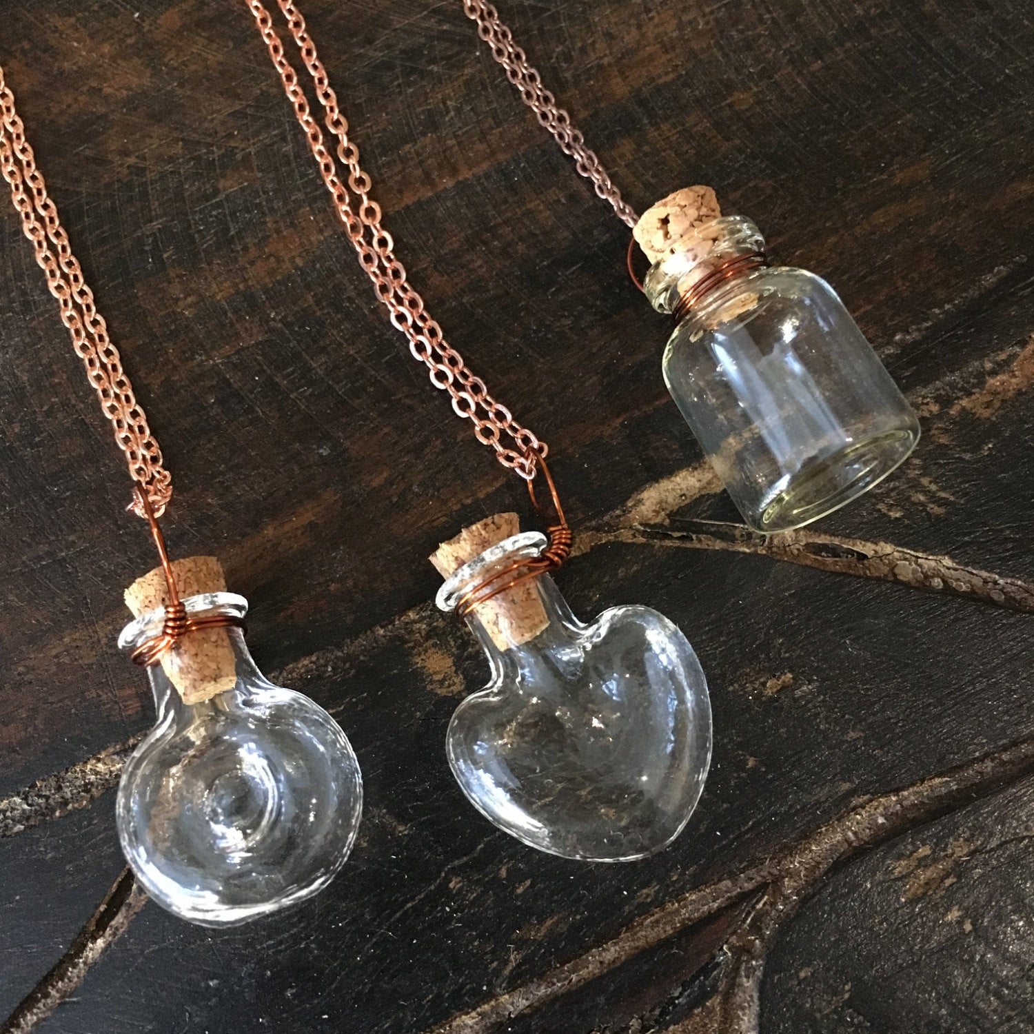 Miniature Bottle necklace, bottle pendant necklace, rose gold chain, Vial Necklace, heart pendant, Layering Necklace, BFF Gift - AFN 104 1-3