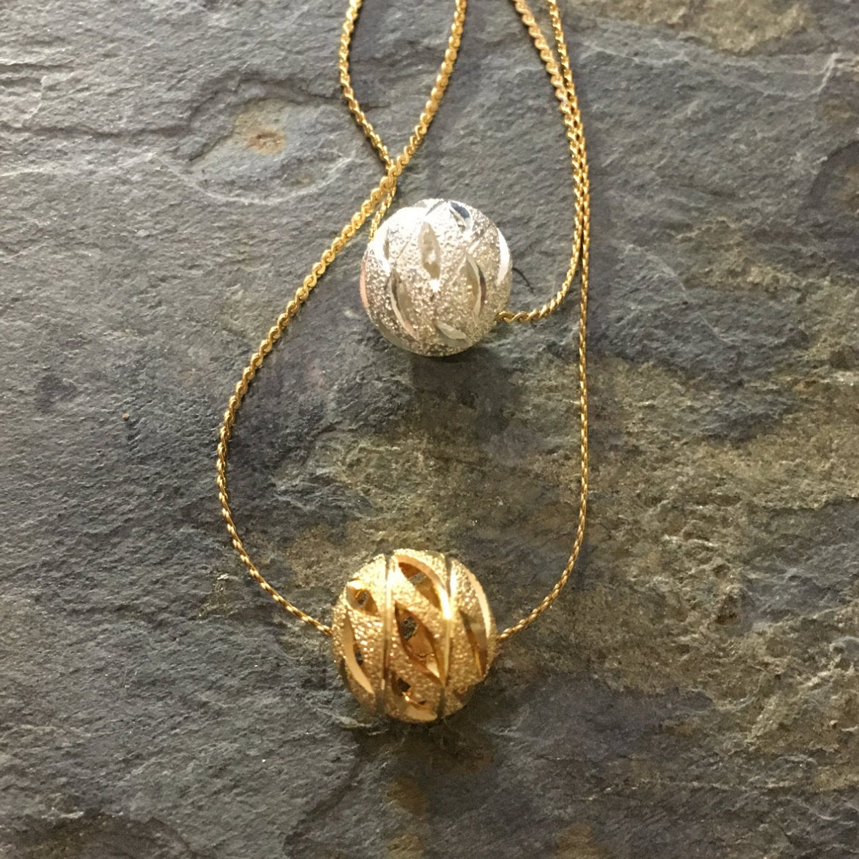 Minimalist gold necklace, dainty ball pendant necklace, silver ball necklace, Layering Necklace, Gift for her, tiny bead pendant - AFN 106